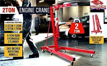 Resistente pluma hidráulica plegable de gran calidad marca Progen con ruedas, para motores de hasta 2 toneladas: Amazon.es: Coche y moto
