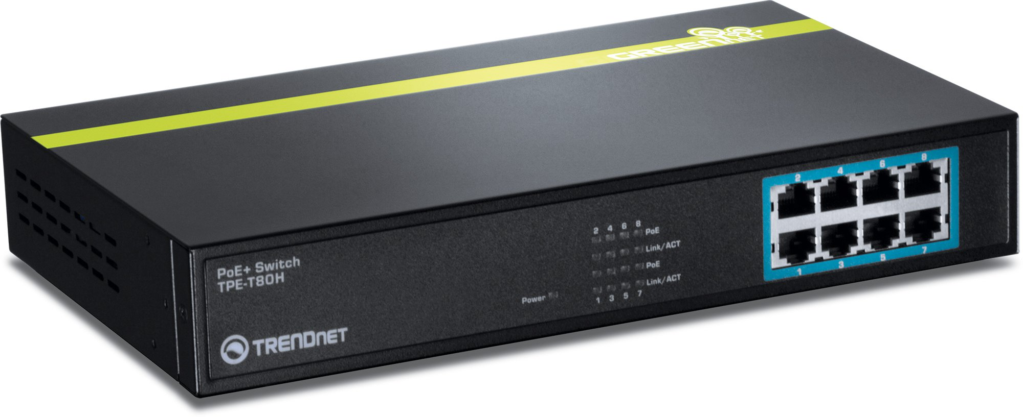 TRENDnet 8-Port 10/100 Mbps GREENnet PoE+ Switch Rack Mountable, 8 x 10/100 Mbps PoE+ Ports, Up to 30 Watts Per Port with 125 W Total Power Budget, TPE-T80H