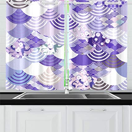 Qiaolii Kawaii Chinese Japanese Style Scales Wave Kitchen Curtains Window Curtain Tiers For Cafe Bath Laundry Living Room Bedroom 26x39inch 2pieces Amazon Co Uk Kitchen Home