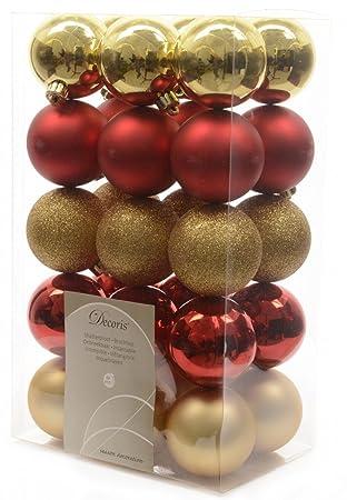 Christbaumkugeln Kupfer.30x Kunststoff Christbaumkugeln 6 Cm Gold Rot Bunt Kupfer Weihnachtskugeln Farbe Gold