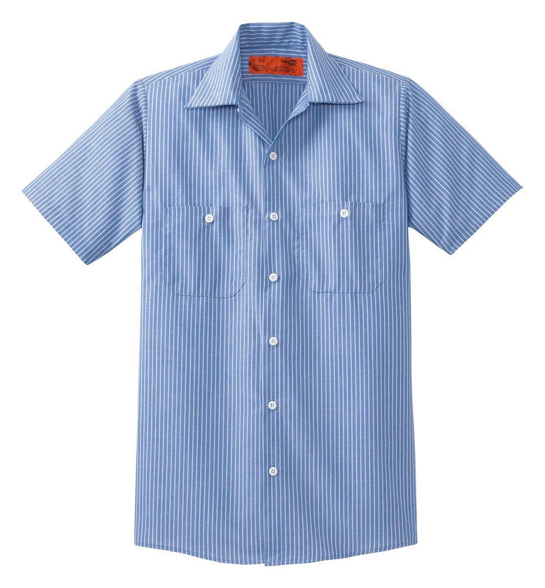 CornerStone - Short Sleeve Striped Industrial Work Shirt. CS20 - Blue/White_L Reg by Cornerstone