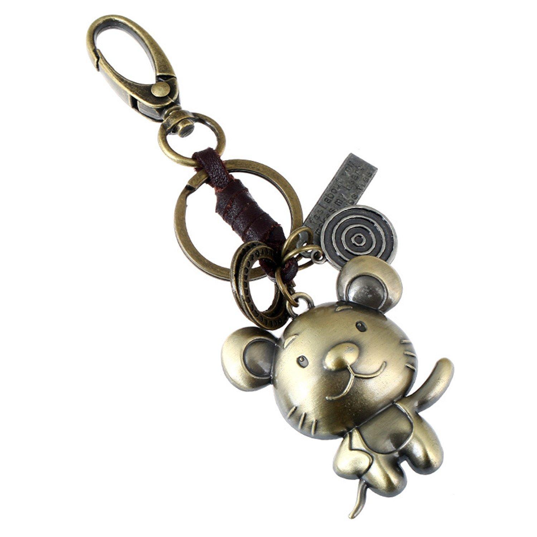 Signes du zodiaque chinois Cuir tressé entre, la maison 12animaux symbolique Creative rétro fait à la main Tissage Alliage Cuir véritable Porte-clés avec porte-clés pour cadeau d'anniversaire
