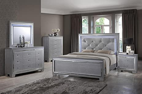Soflex Tinley Silver Finish Diamond Tufted Bedroom Set 6 Pcs With Led  Lights Alligator Texture (