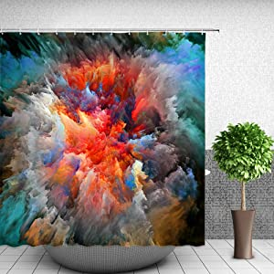 Feierman Colorful Abstract Shower Curtain Art Decor Ink Watercolor Bathroom Curtain Polyester Fabric Decorative Bath Curtains with Hooks