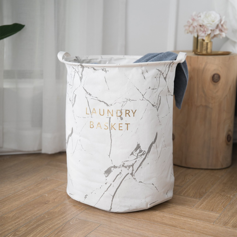 Cotton Fabric19.7'' Large Sized Waterproof Folding Laundry Hamper Bucket Cylindric Burlap Canvas Storage for Clothes Toys (White)