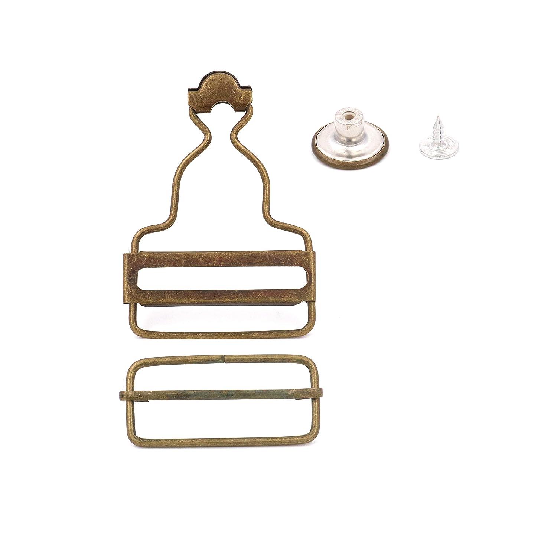 Amanaote 1.5 Inside Bottom Width Bronze Slider Dungaree Fastener Suspender Buckle Rectangle Sliding Bar with Screw Button Pack of 10 Sets
