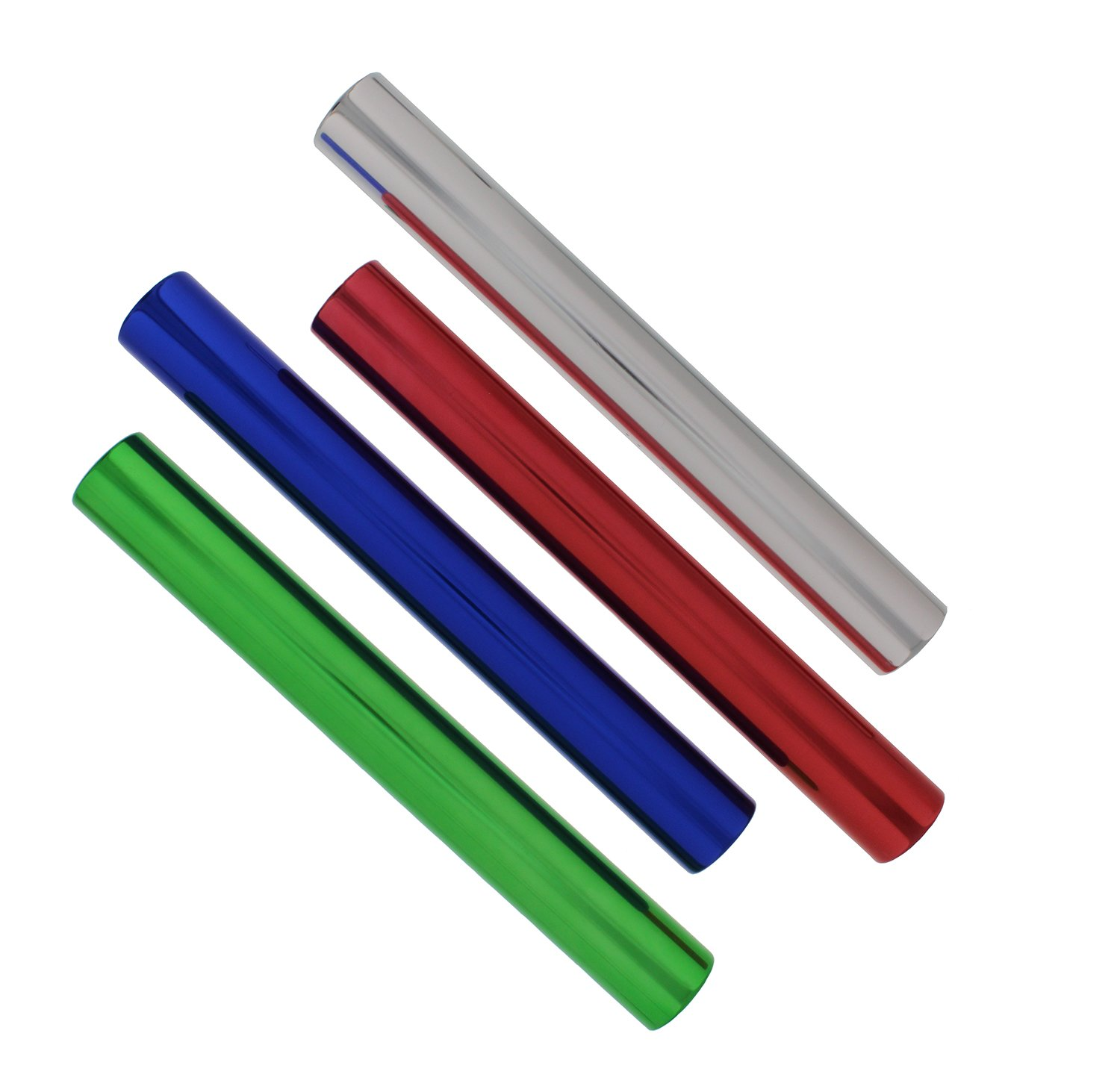 """Get Out! Aluminum Relay Running Baton 4-Pack – 12"""" Inch Metal Baton Sticks in Red, Blue, Green, Silver for Track & Field"""
