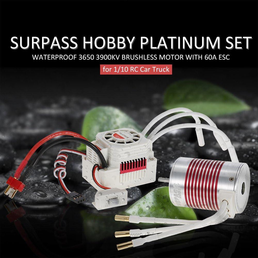 Studyset Platinum Motor Set Waterproof 3650 3900kv//4300KV//5200kv Brushless Motor with 60A ESC for 1//10 RC Car Truck KV4300
