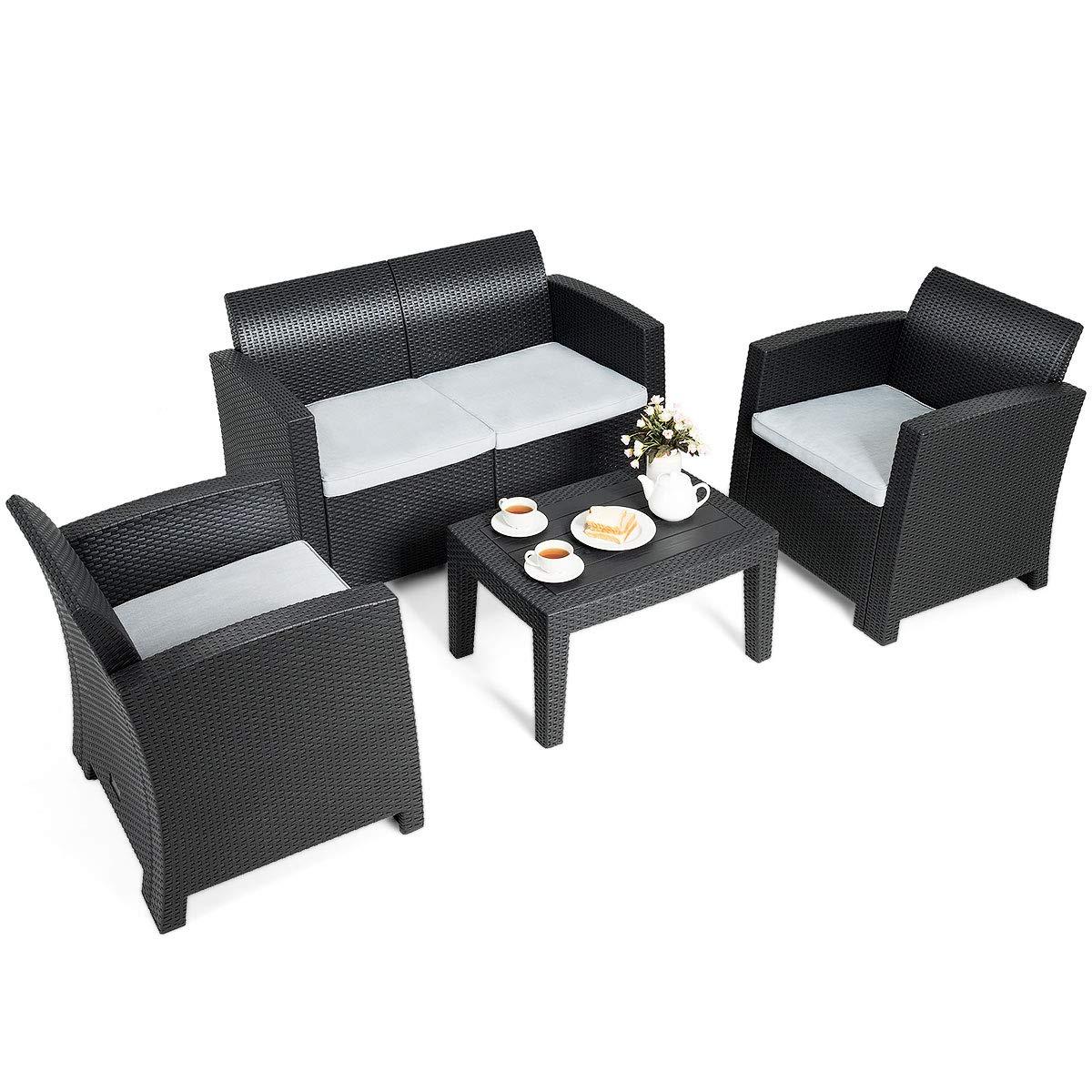 Tangkula 4 Piece Patio Furniture Set, Rattan Table Chair Set, Modern Wicker Rattan PE Conversation Sectional Sofa Set w Removable Cushion, Outdoor Indoor Use Sectional Yard Furniture Set, Black