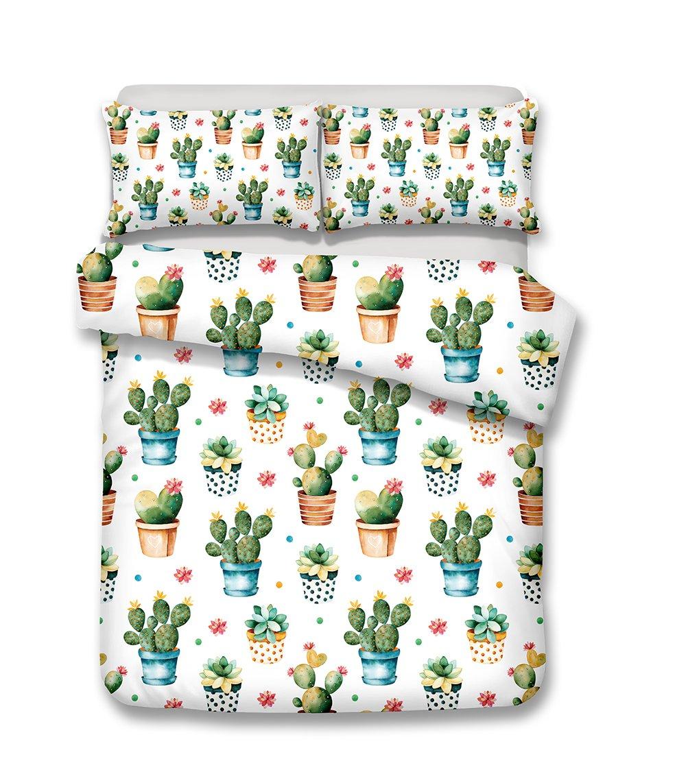 Helengili 3D Digital Printing Bedding Set Cactus Barbary Fig Cereus Cacti Bedding Bedclothes Duvet Cover Sets Bedlinen 100 Percent Microfiber Present , California King