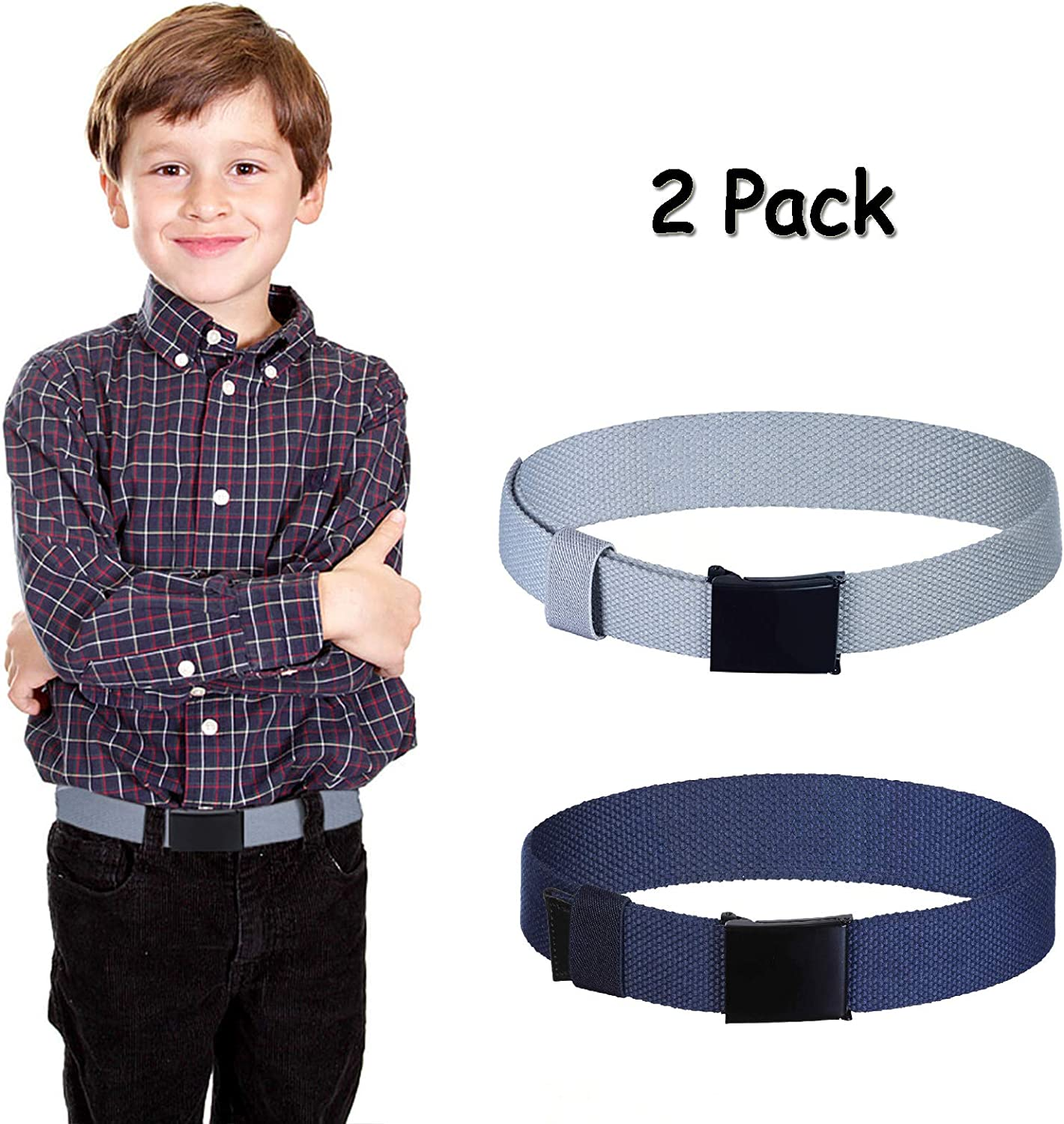 Boys Kids Cotton Canvas Belts 2Pcs Adjustable Canvas Web Belt with Flip Top Buckle for Child