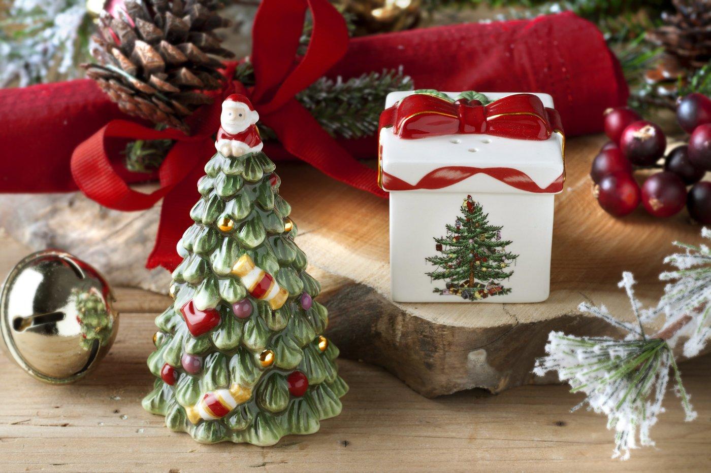 Gold Portmeirion USA 1581784 Spode Christmas Tree Tree Salt and Pepper Gift Box Set