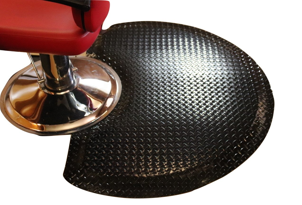 Rhino Mats SS-3660SDSBK Sport Salon Anti-Fatigue Semi-Circle Mat, 3' Width x 5' Length x 1'' Thickness, Black