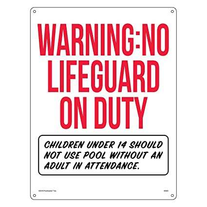 8d5d1ed2586bd Poolmaster Sign for Residential or Commercial Swimming Pools - Oregon  Compliant, Warning No Lifeguard on Duty