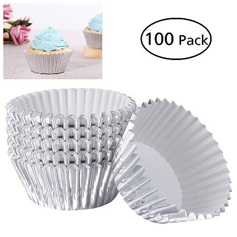 Healifty Moldes de Papel de Aluminiopara Magdalenas Pastel Tarta Cupcakes Colorido Hornear para Fiesta Cumpleaños Boda