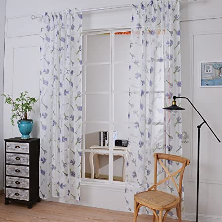 sundautumn - cortina de lino y algodón natural, de visillo, blanco con estampado, para ventana de dormitorio o salón, moderno, 145 x 180 cm: Amazon.es: Hogar