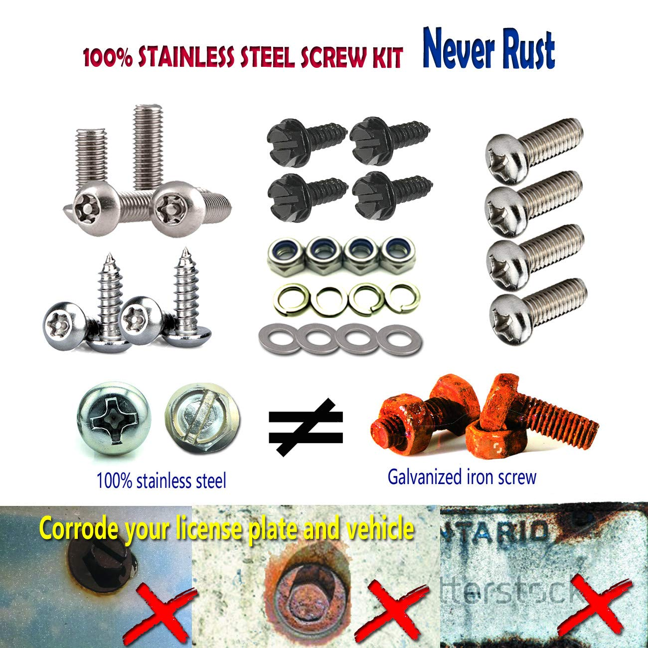 Aootf Black License Plate Frame Screws-Stainless Steel Anti Rust and Caps for Securing License Plates Frames Covers on Domestic Cars and Trucks