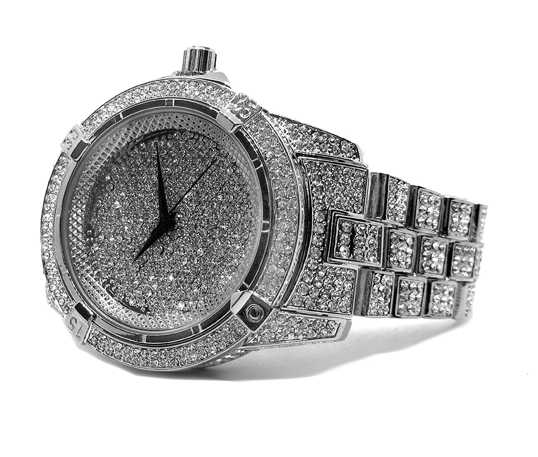 Millionaires Faux Diamant LÜnette - versilberte Metall Strap HipHop Bling Armbanduhr