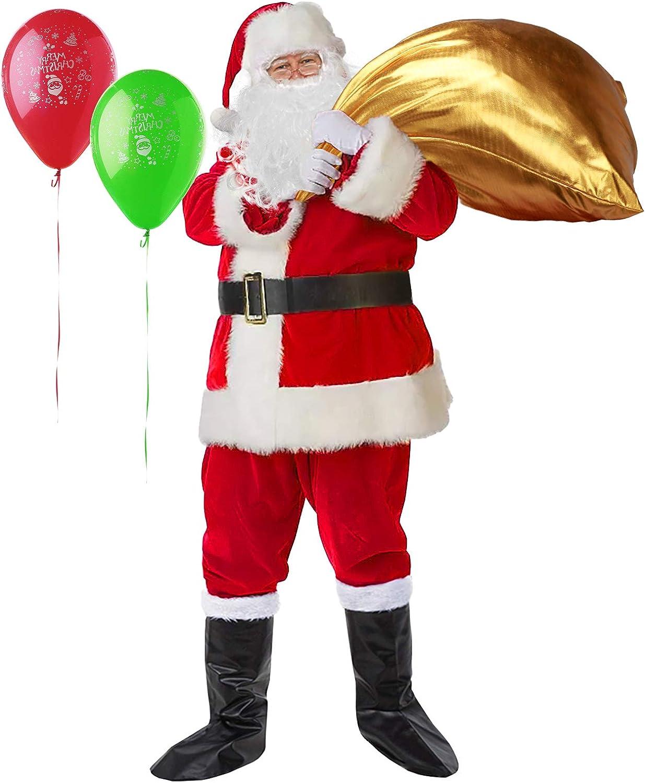 C-Oral Disfraz de Papá Noel para Adulto (10 Piezas), Costume Santa Claus, Traje de Santa, Muy cómodo. (Vino Rojo 2)