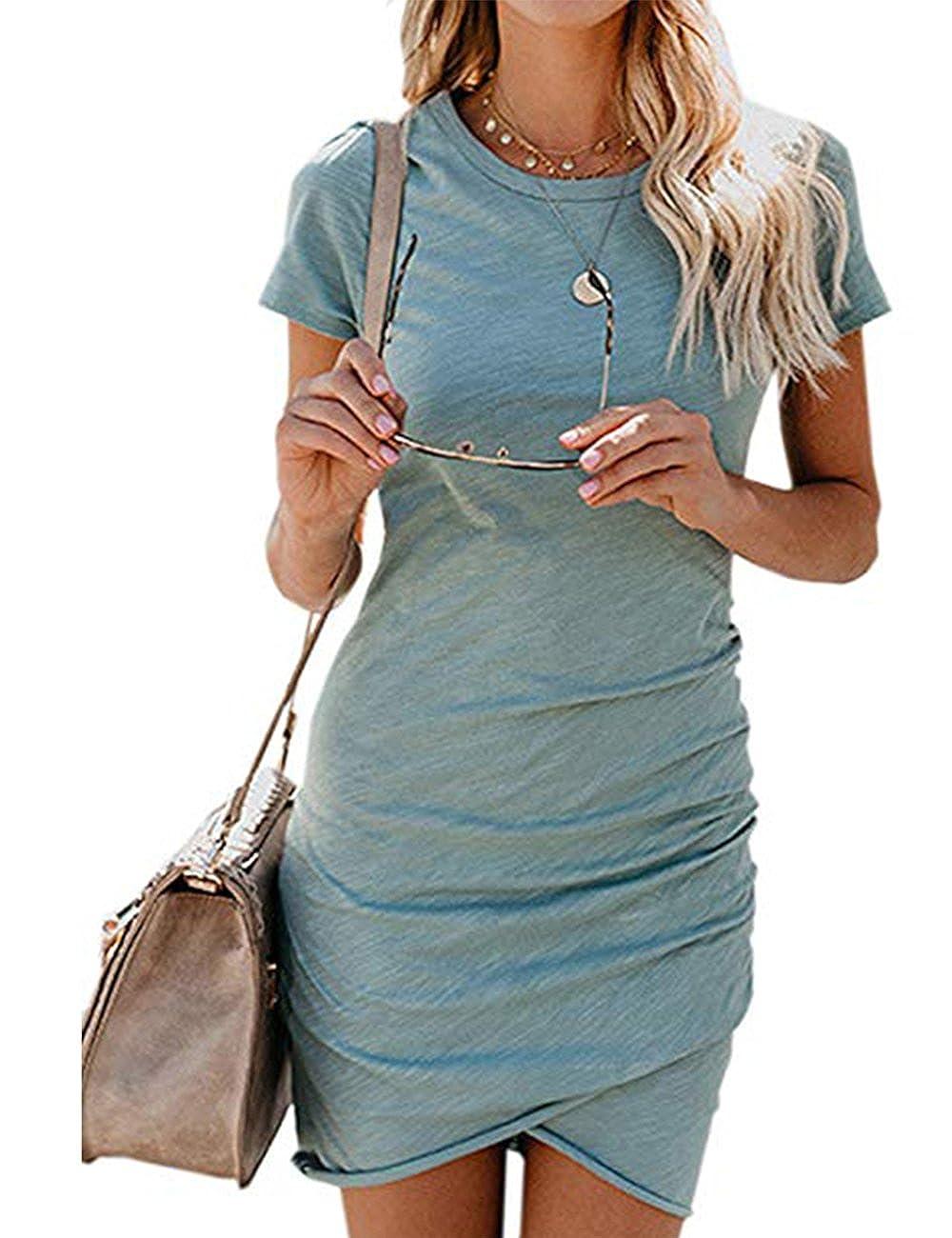 Damen Enges Kleid Kurz Sommerkleid Rundhals Kurzarm Kleid Bodycon Unregelmäßig Asymmetrisch Minikleid Party Abendkleid Elegant Sommer Tunika T-Shirt Kleid