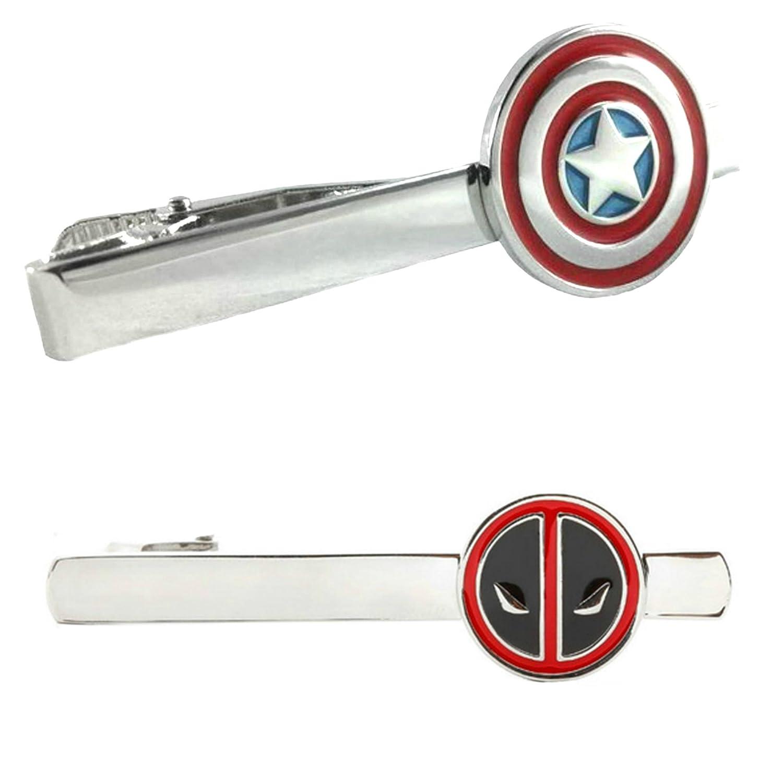 Outlander Marvel Comics - Captain America & Deadpool - Tiebar Tie Clasp Set of 2 Wedding Superhero Logo w/Gift Box Outlander Brand
