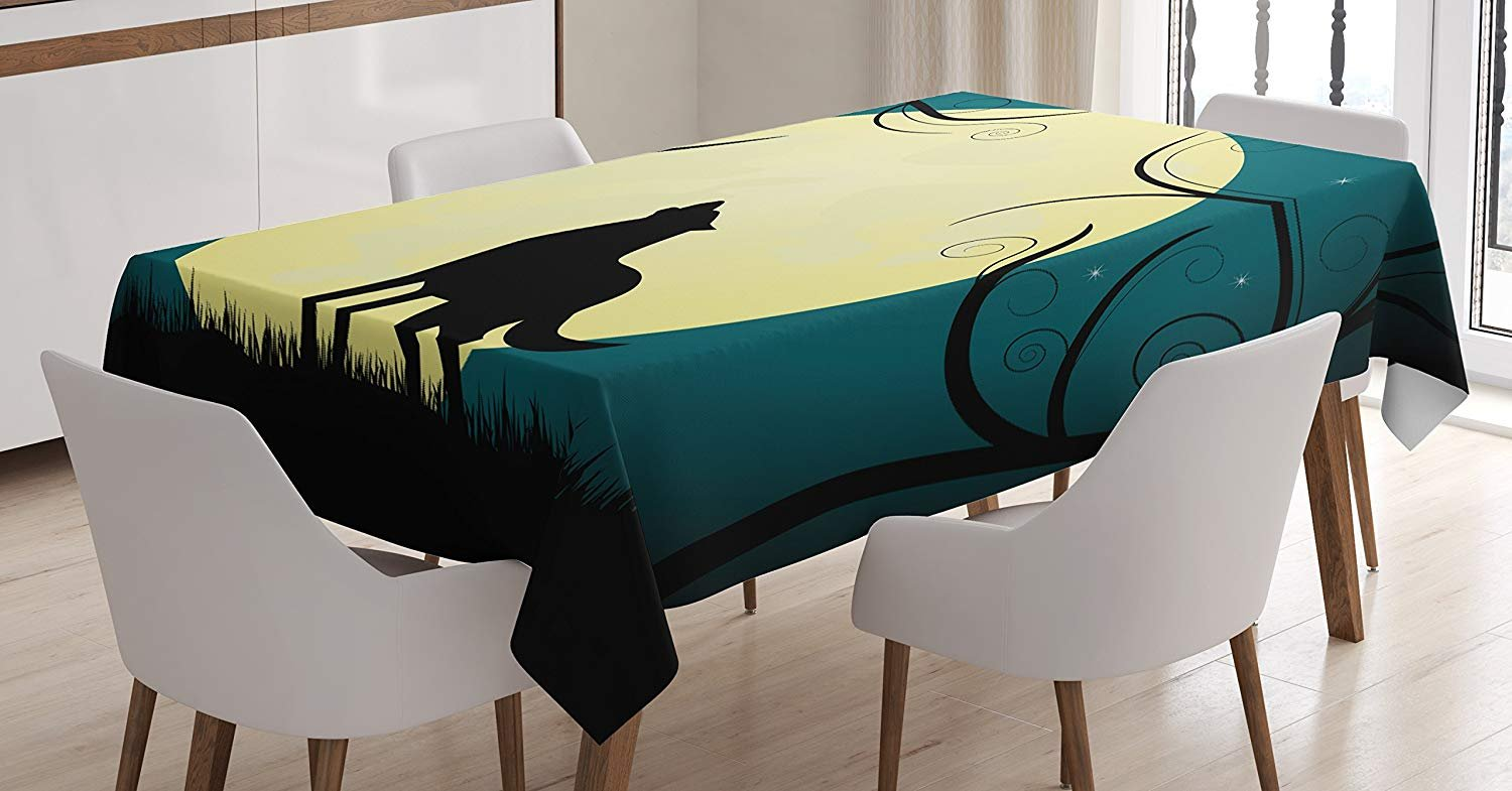 Crying Wolf Tablecloth Linen Decor Table Cover for Kitchen Dinning Room Rectangle Oblong Tablecloths 54 W X 120 L Inch, Animal Barking at The Moon in a Fantastic Forest with Swirled Trees