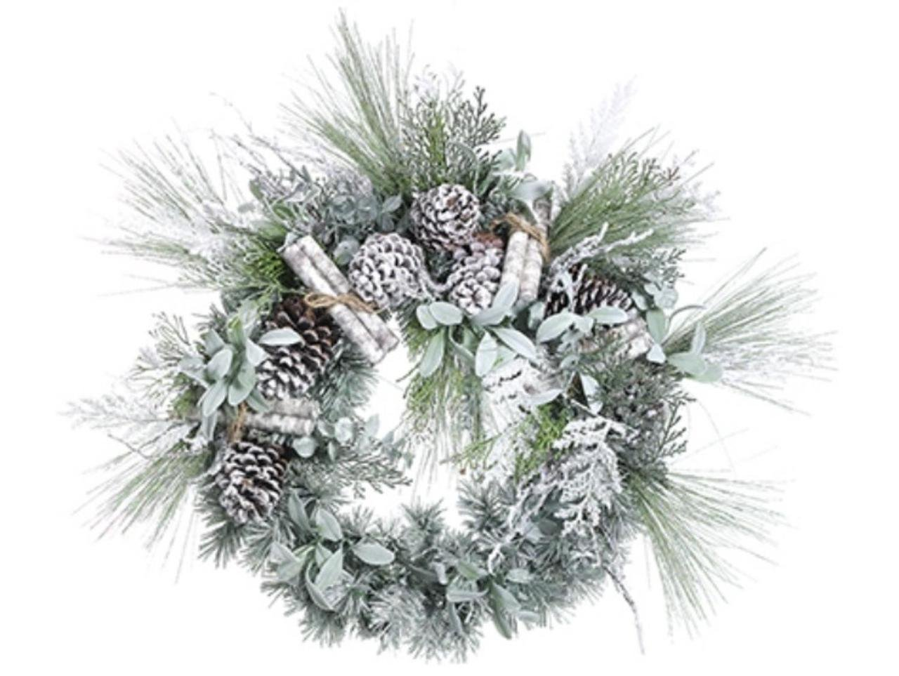 "24"" Artificial Frosted Pine, Birch Scrolls and Pine Cone Christmas Wreath - Unlit"