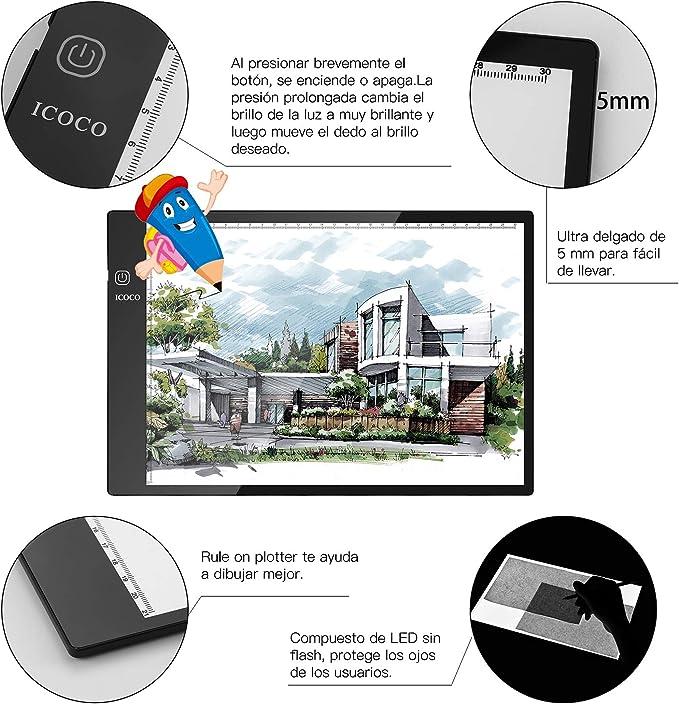 Mesa de Luz,Tableta de Luz,Mesas de Dibujo,Tamaño A4,3 Tipos de Luminosidad Ajustable: Amazon.es: Hogar