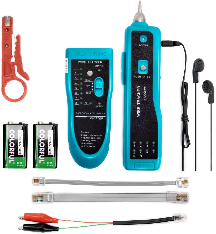 Tester Rete Telefonica,Jiguoor Wire Tracker tester Rilevatore di Cavi Elettrici Tester di Rete e Cavi Telefonici RJ45 RJ11 Verifica del cablaggio con Cuffie e Lavviso con Recettore e Trasmettitore