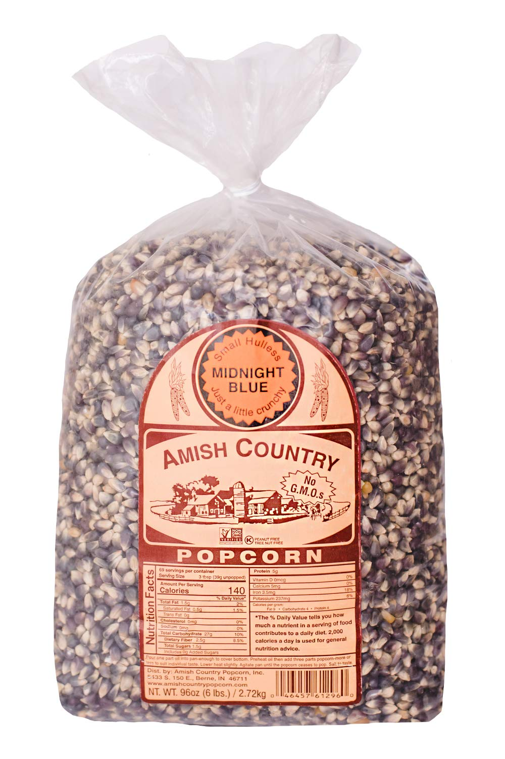 Amish Country Popcorn - Midnight Blue Kernels (6 Pound Bag) - Old Fashioned, Non GMO, and Gluten Free- with Recipe Guide by Amish Country Popcorn