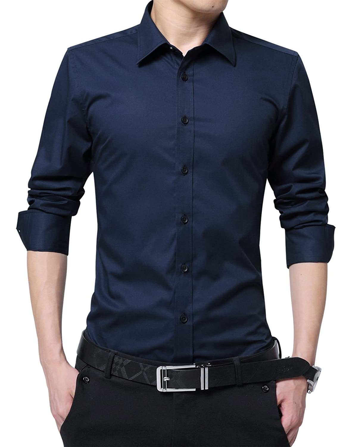 Xtapan Men's Long Short Sleeve Casual Slim Fit Cotton Fashion Button Down Dress Shirt by Xtapan