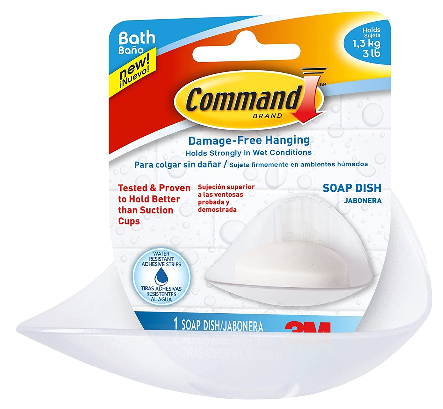 Command Strips BATH14-ES Command Soap Dish With Water-Resistant Strips