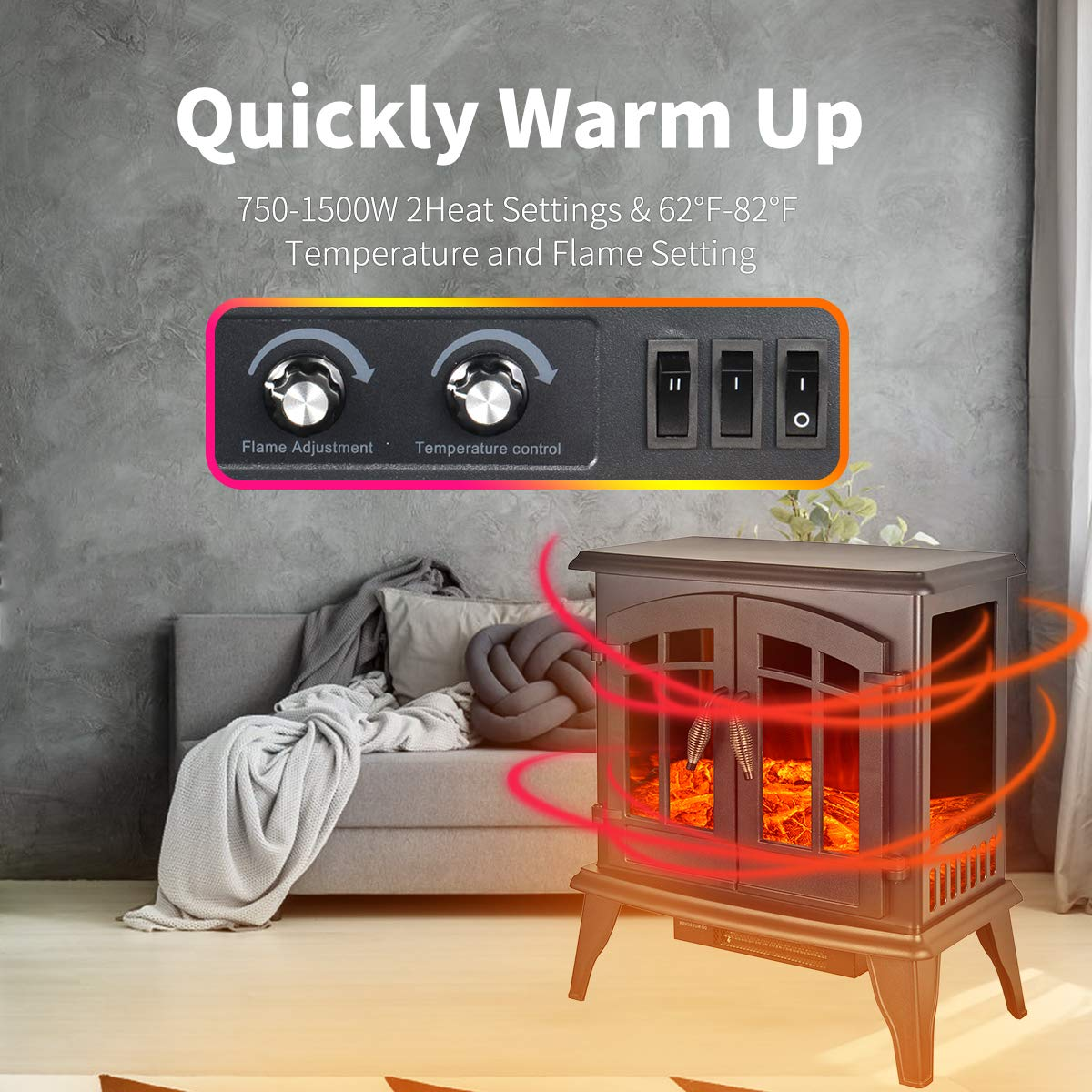 Portable Electric Fireplace Stove 23-inch Freestanding Heater for Living Room w Realistic Burning Fire and Log Frame Effect, Black