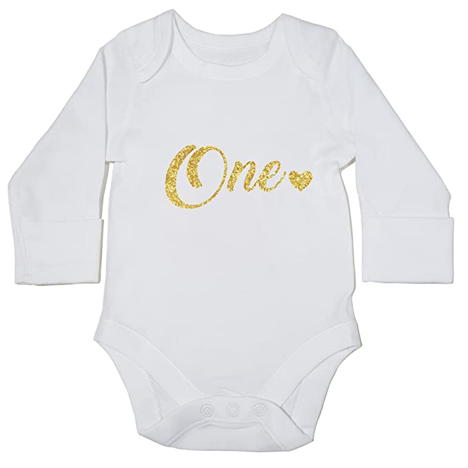 fe8a5c0b8 Hippowarehouse One Birthday Baby Vest Bodysuit (Long Sleeve) Boys Girls:  Amazon.co.uk: Clothing