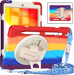 BATYUE iPad 8th/ 7th Generation Case, iPad 10.2 inch Case 2020/2019, Heavy Duty Kids Case with Screen Protector, Rotating Kickstand/Pencil Holder/Carrying Strap (Colourful Red)