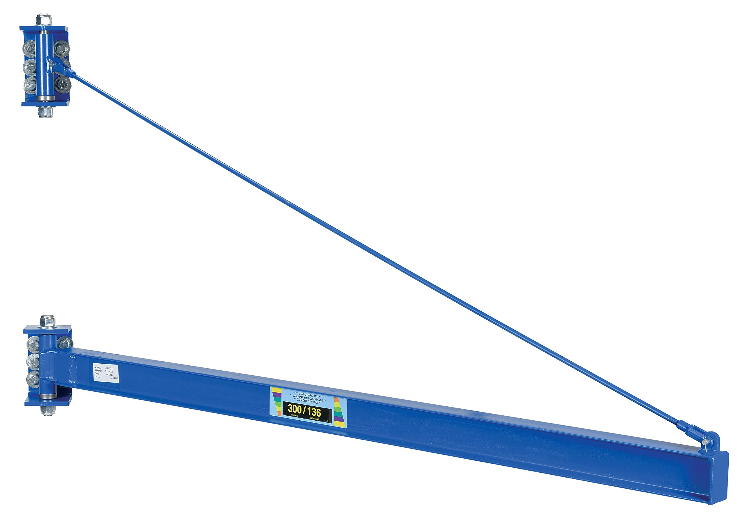 Vestil JIB-HC-3 Manual Wall Mount Steel Jib Crane, High Clearance 300 lb Capacity, 180 degree Rotation, Tie Bar Length 82-1/4'', I-Beam 2-11/16'' Flange x 4'' Height, Overall I-Beam Length 86'', Usable I-Beam Length 79-3/4''