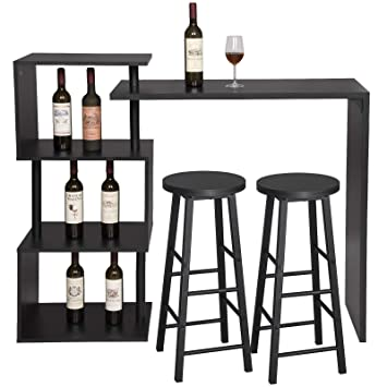 eSituro Set Tavolo da Bar e 2 Sgabelli Bar Arredamento Alto per Cucina Struttura in Acciaio SBST0402+SBST0329-2