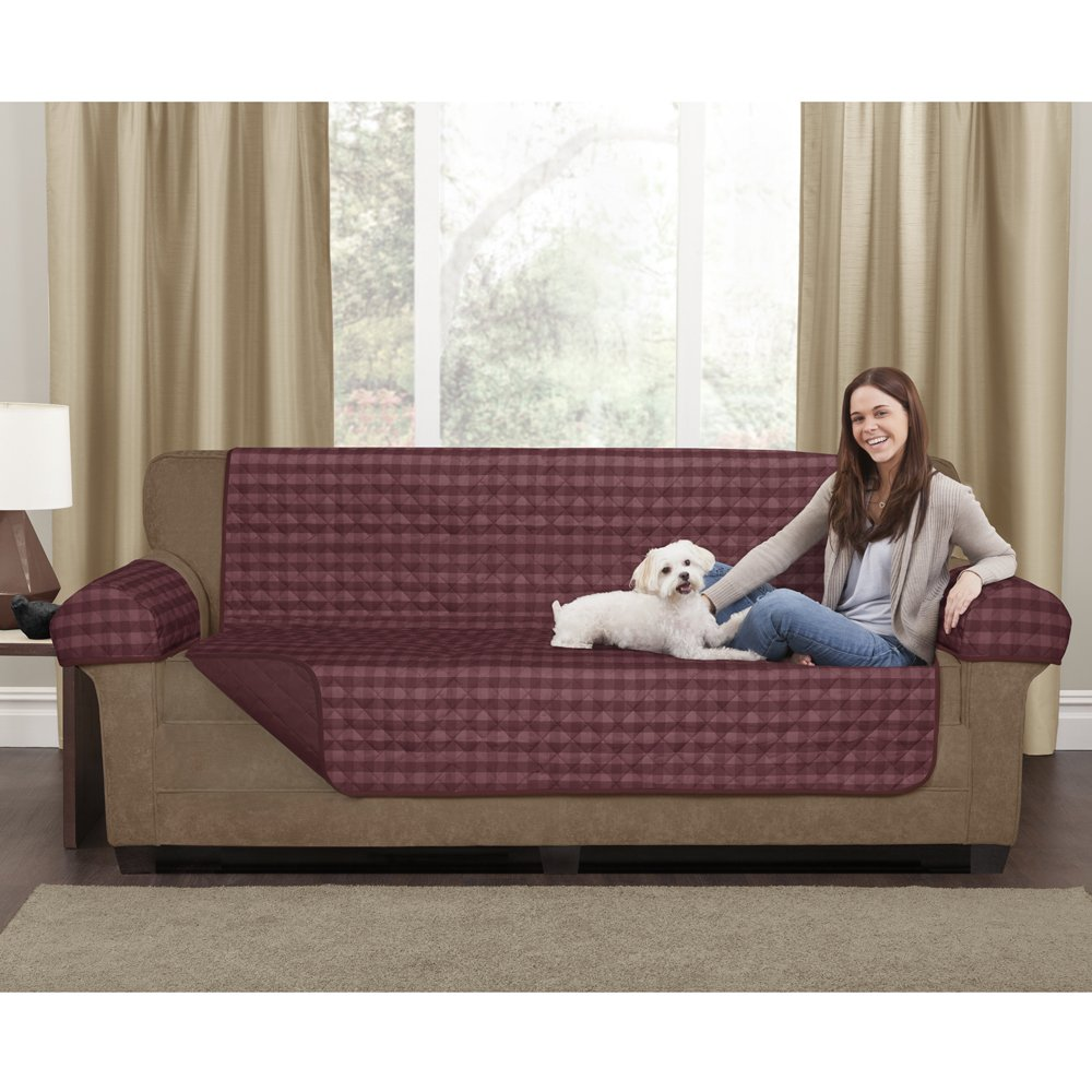 MAYTEX 07316107715-0 Buffalo Check Reversible 3 Piece Furniture Pet Cover/Protector, Burgundy Check