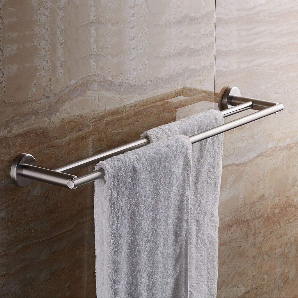Towel Rack Bathroom Shelf Towel Bar Double Rod Stainless Steel Thickened Bathroom Towel Bar Wall-Mounted Bathroom Towel Rack Bathroom Towel Shelf