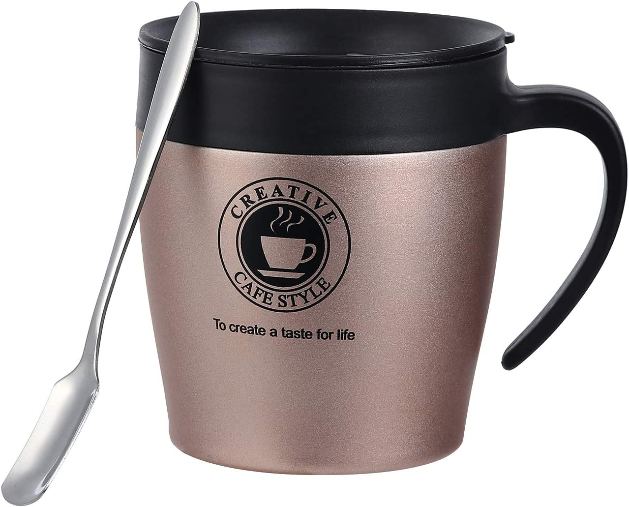 12 OZ Stainless Steel Insulated Coffee Mug Cup with Lid, Double Wall Vacuum Travel Mug with Handle, Splash Proof BPA-Free Press-In Lid with Sliding Cover, Stainless Steel Spoon (Champagne, 1 Pack)