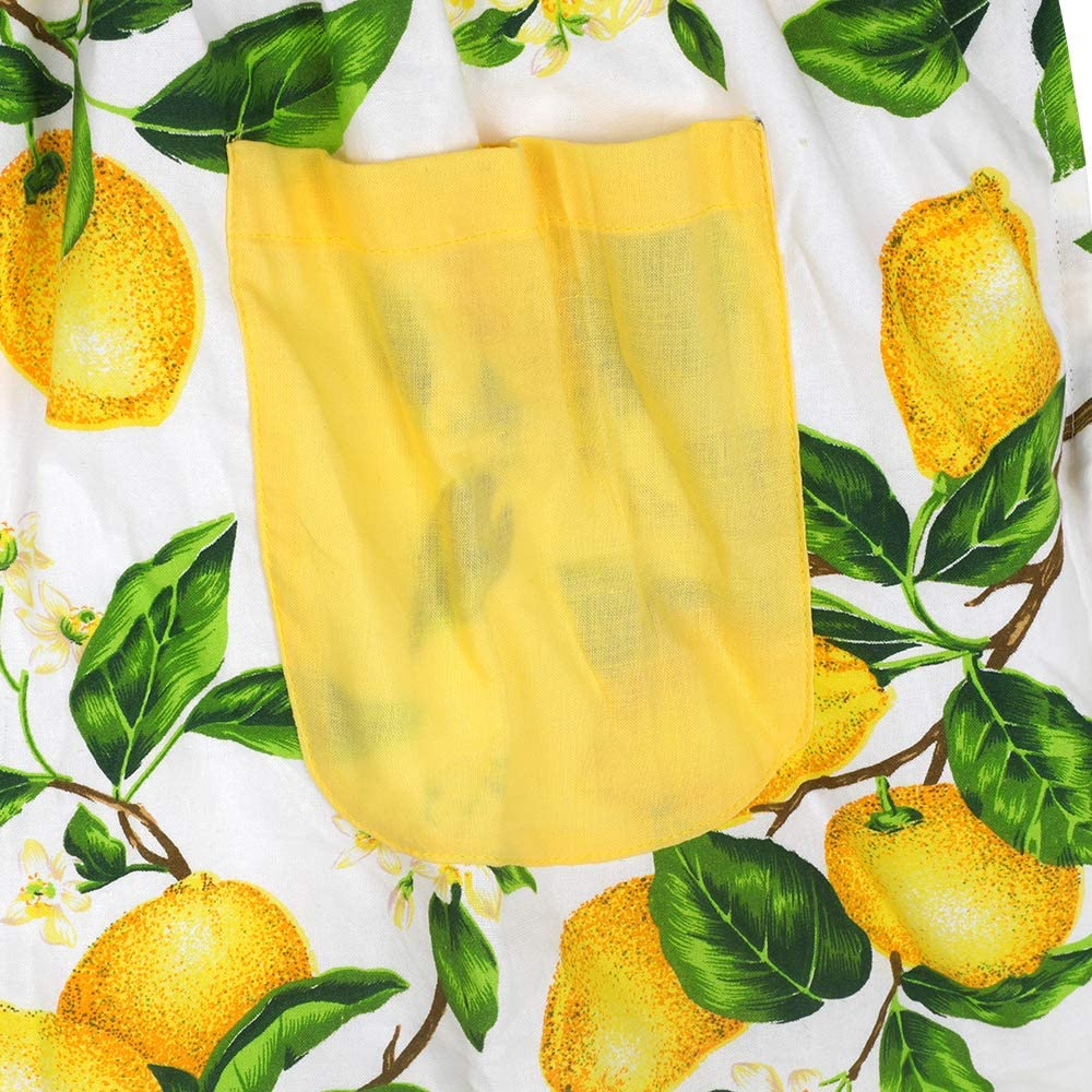 ready to ship Lemons on Hot Pink Adult Apron with yellow pocket