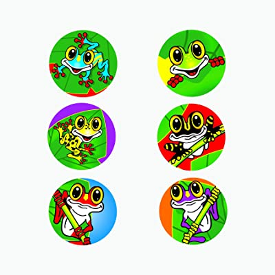 Fun Express Frog Stickers (100 Stickers on a Roll) Classroom Incentives, Summer Camp, Arts & Crafts Supplies: Toys & Games