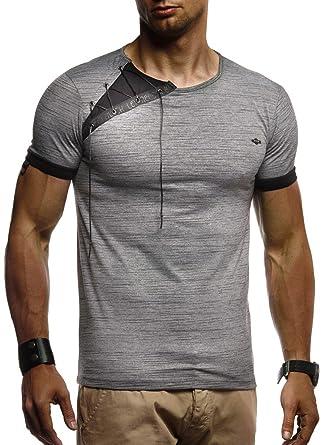 5ae17a2a75ad LEIF NELSON Herren Sommer T-Shirt modernes Sweatshirt Crew Neck Rundkragen  O-Neck Kurzarm Longsleeve Basic Polo Shirt Freizeit Hemd LN1245  Amazon.de   ...