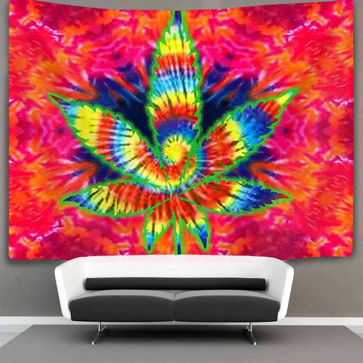 NiYoung Trippy Pot Leaf Marijuana Weed Wall Tapestry Hippie Art Tapestry Wall Hanging Home Decor Extra Large tablecloths 60×90 inches for Bedroom Living Room Dorm Room