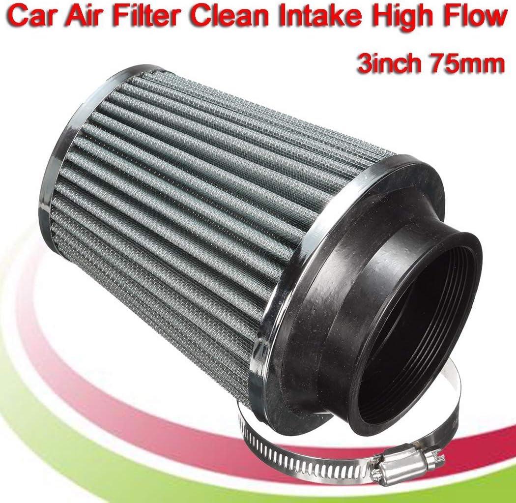 Y/&Jack 3 Pulgadas 75 mm Filtro de Aire Redondo c/ónico Clip Receptor Limpiador de succi/ón Cromado Tapa Final Doble Malla de Hongos Filtro de Aire