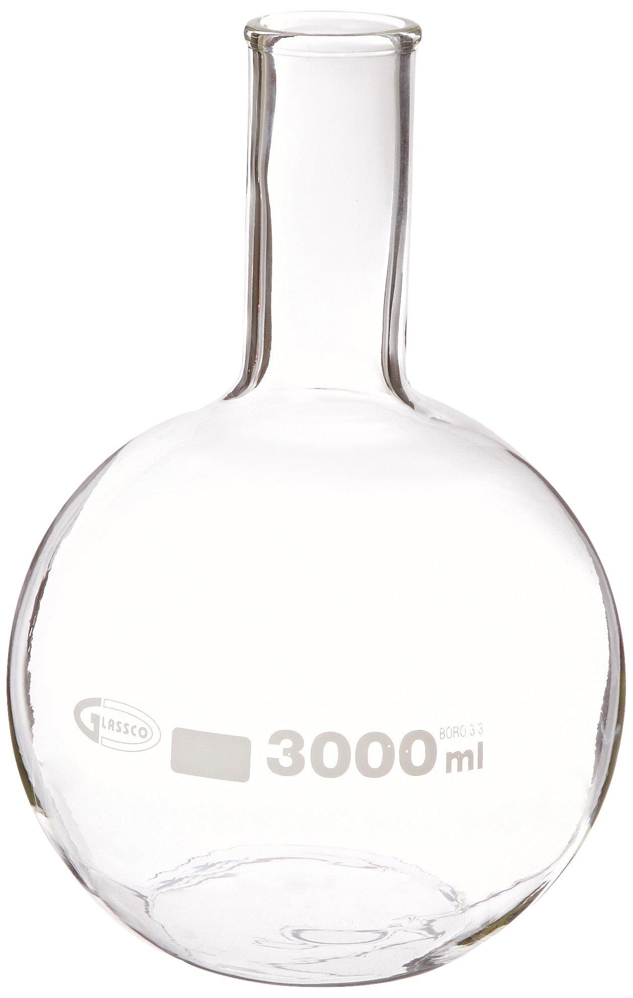United Scientific FG4060-3000 Borosilicate Glass Flat Bottom Boiling Flask, 3000ml Capacity