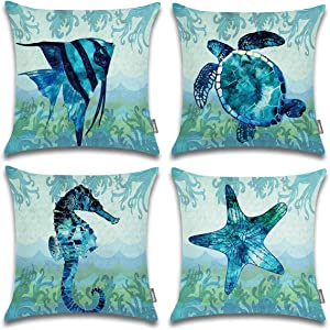 ONWAY Mediterranean Vintage Style Nautical Sea Theme Decorative Cotton Linen Throw Pillow Covers 18x18, Set of 4