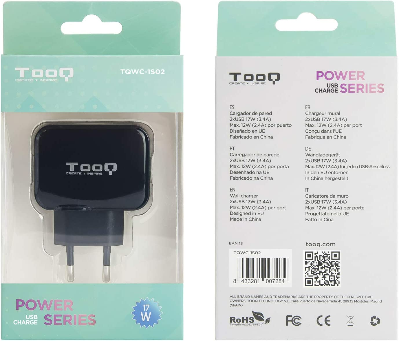 Tooq Tqwc 1s02 Charger With 2x Usb With Airpower Computers Accessories