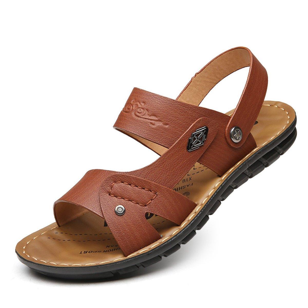 LYZGF Sandalias De Playa Peep-Toe De La Juventud De Los Hombres Zapatillas De Moda Respirables Dos Desgaste 44 EU|Brown