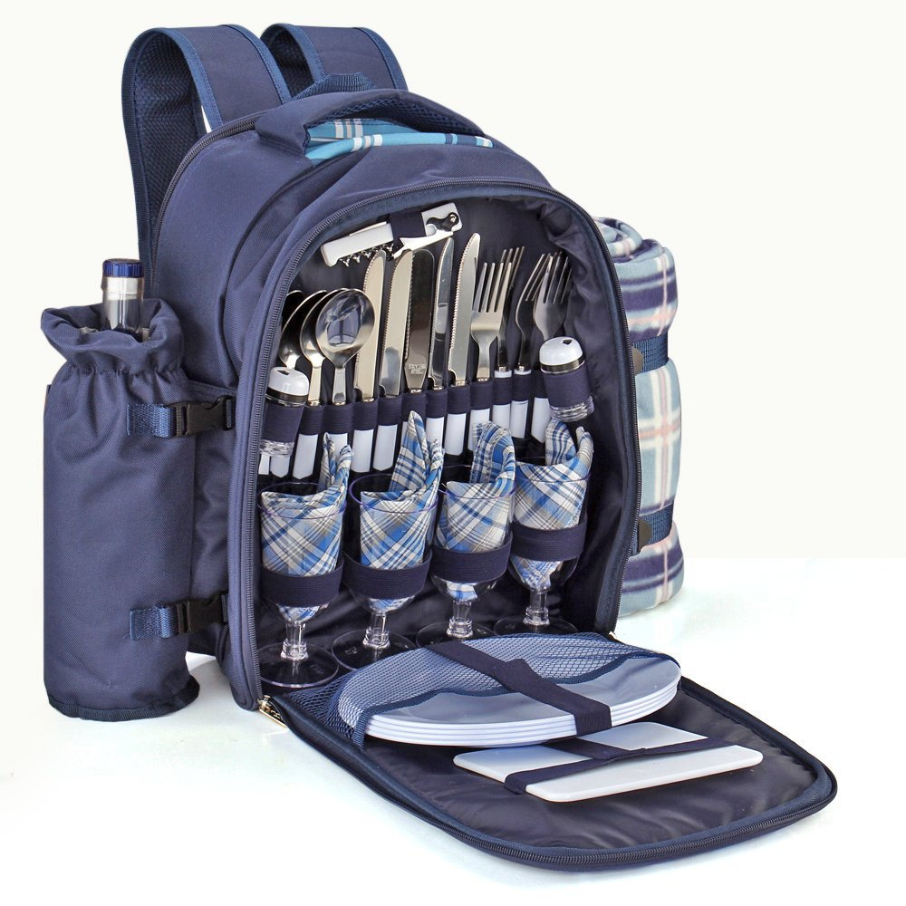 Flexzion Picnic Backpack Kit - Set for 4 Person With Cooler Compartment, Detachable Bottle/Wine Holder, Fleece Blanket, Plates and Flatware Cutlery Set (Plaid Tartan - Blue) by Flexzion